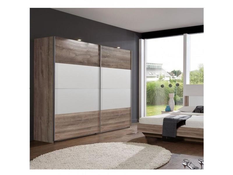 Armoire eva portes coulissantes largeur 225 cm chêne châtaigne / blanc 20100889718