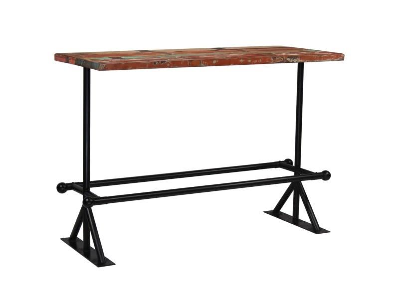 Sublime tables ligne stockholm table de bar bois récupération massif multicolore 150x70x107 cm