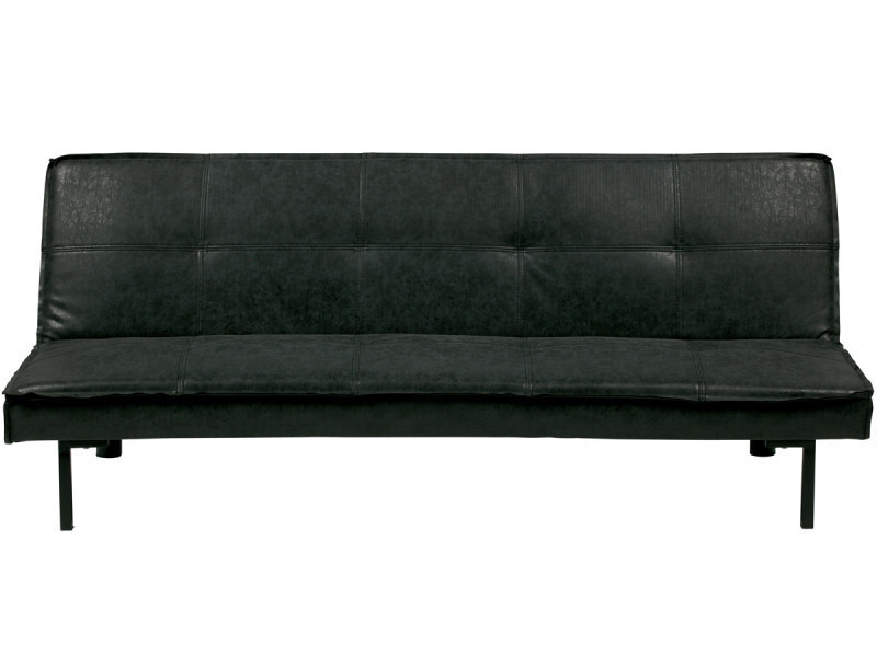Canapé-lit pu cuir coloris gris foncé - dim : h.73 x l.178 x p.81 cm -pegane-