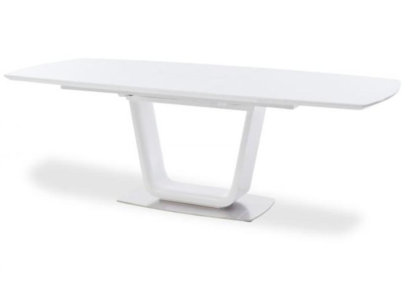 Table à manger extensible rectangulaire laqué blanc mat - 180-230 x 76 x 95 cm -pegane-