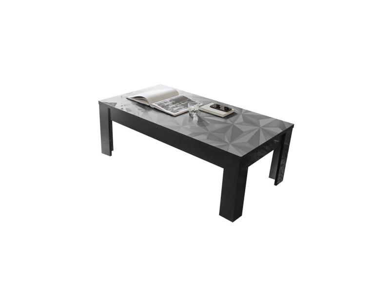 Table basse rectangulaire laquée gris brillant - kioo - l 122 x l 65 x h 45 - neuf
