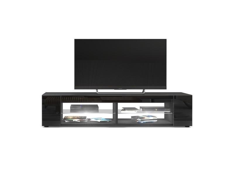 Meuble tv noir mat façades en noir laquées led blanc