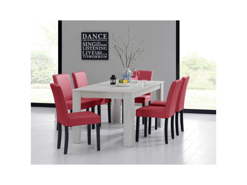 [en.casa] table et jeu de chaises 'oslo' (blanc - 160x90) 6 chaises (rembourrées - rouge foncé) - en pack économique