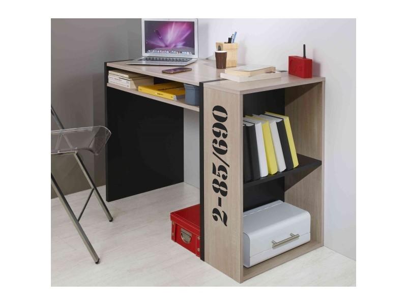 Bureau bibliothèque chêne et noir bu vente de bureau conforama