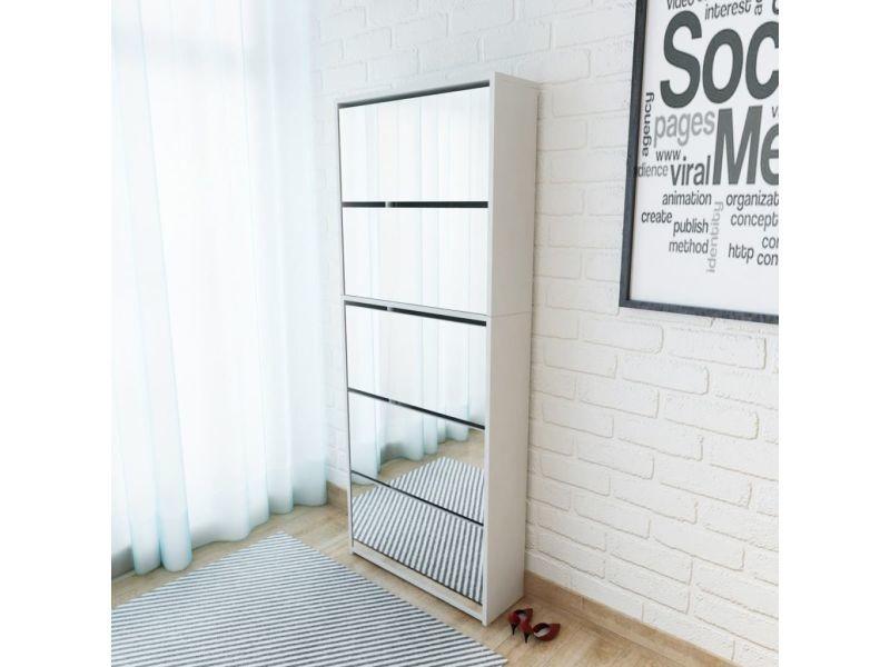 Sublime rangements pour armoires à vêtements serie tallinn meuble à chaussures 5 étagères et miroir 63x17x169,5 cm blanc