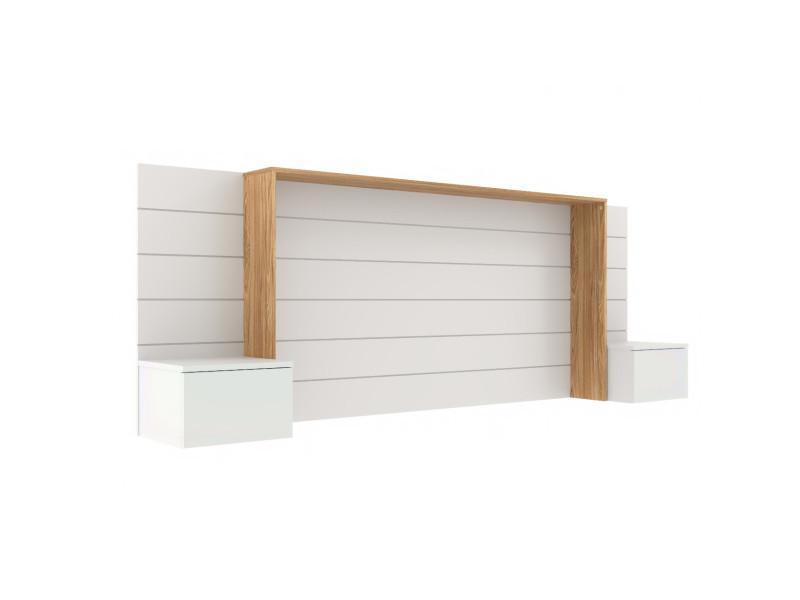 Tête de lit avec chevets faro blanc et bois 160 cm
