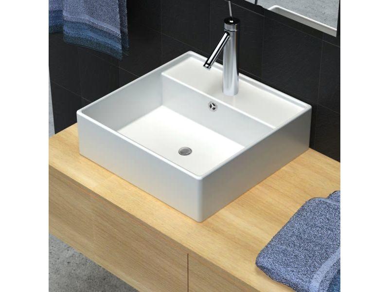 Inedit éviers et lavabos serie stockholm luxueuse vasque céramique carrée avec trop plein 41 x 41 cm