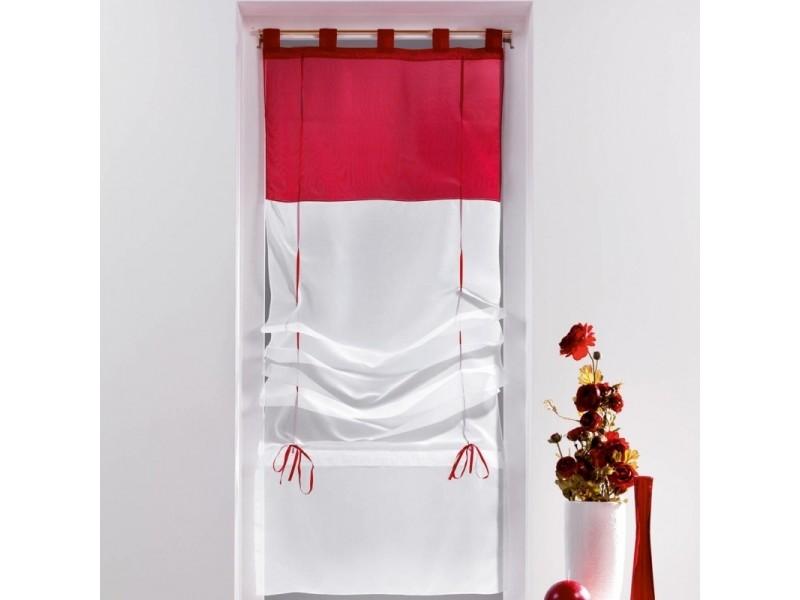 Un store droit à passant - rideau voile bicolore blanc / rouge 60 x ...