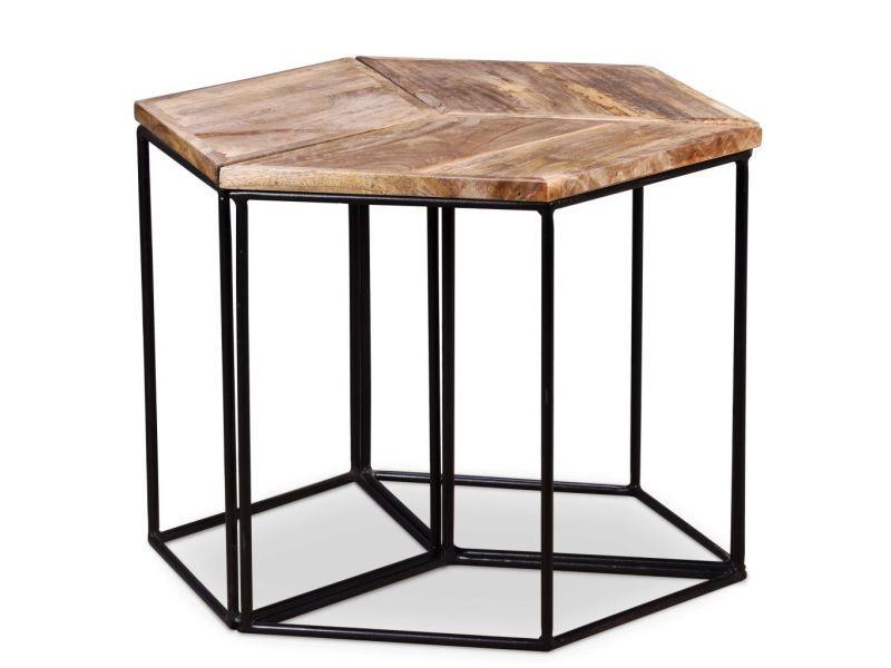 Contemporain consoles selection bissau table basse bois de manguier massif 48 x 48 x 40 cm