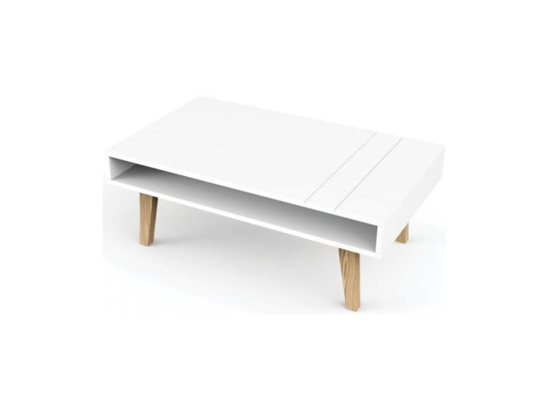 Table Basse London Table Basse Scandinave Laquee Blanc Mat L 100