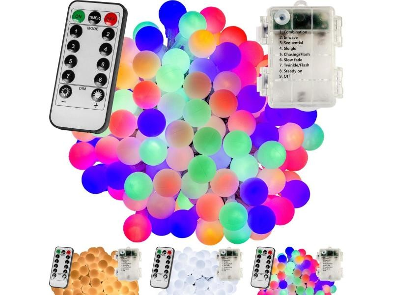 Voltronic® guirlande lumineuse boules led, plusieurs couleurs et dimensions disponibles, à piles, télécommande incluse - couleur : multicolore - taille : 100 led