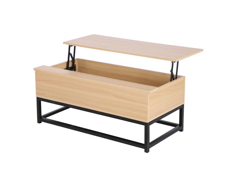 Table basse plateau relevable design industriel hombuy couleur bois