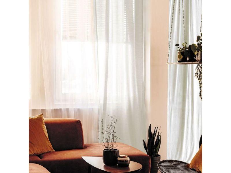 Voilage 100% coton - blanc - 105x250 cm ALE3218111406001