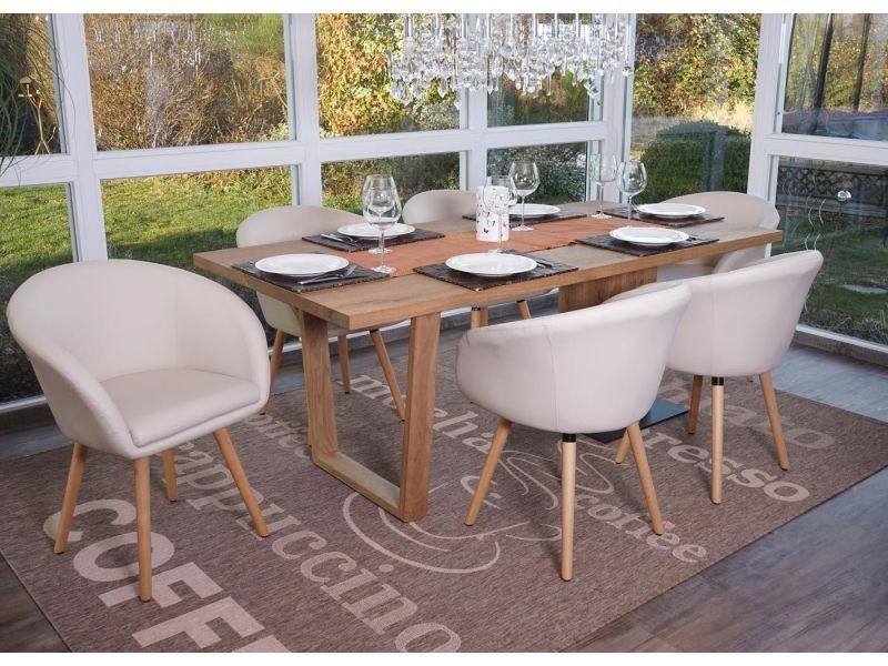 6x chaise de salle à manger malmö t633, fauteuil, design rétro des années 50 ~ similicuir, crème