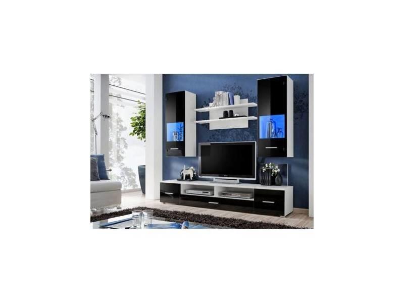 Ensemble meuble tv corte ii noir - eclairage: sans leds