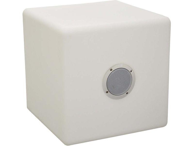 Cube tabouret led et haut parleur 40 cm