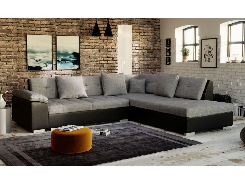 Canapé d'angle tanos tissu gris et simili cuir noir - angle droit