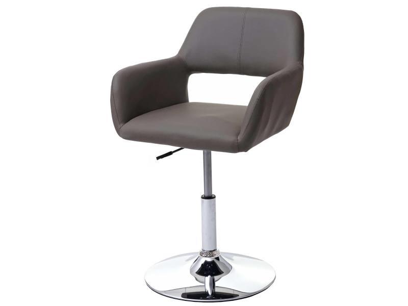Chaise de salle à manger hwc-a50 iii, style rétro années 50, similicuir ~ couleur taupe, pied en métal chromé