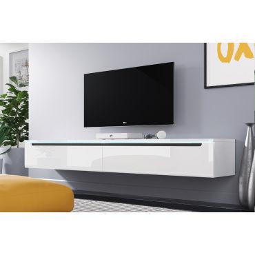 Meuble Tv Swift 180 Cm Blanc Brillant Avec Led Vente De Meuble Tv Conforama