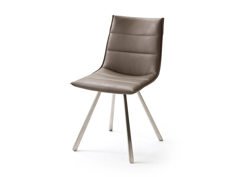 Chaise avec coutures en pu coloris brillant satiné trufée avec pieds carrés en acier brossé -pegane-