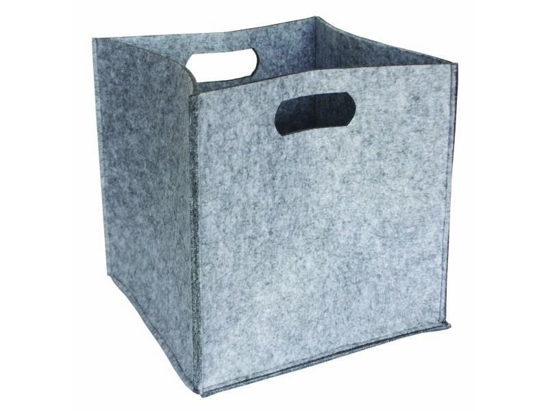 Panier cube en feutre - 2 poignées - gris clair - 31x31x31cm