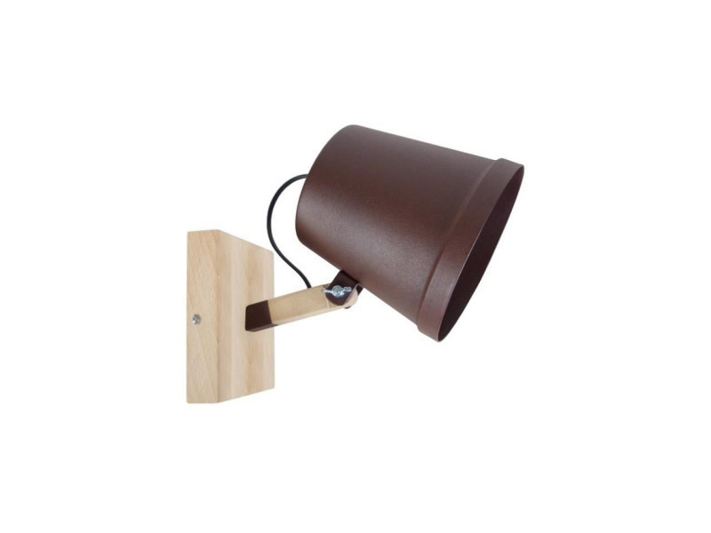 Factory applique bois hetre tôle acier 20x15x28 cm marron conforama