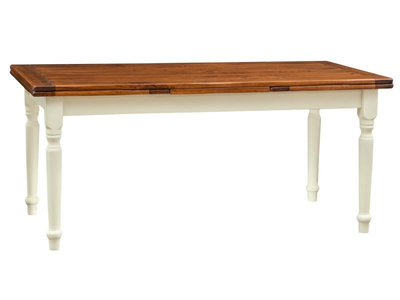 Table à rallonge champêtre en bois massif structure chaux sur plan en noyer antique made in italy