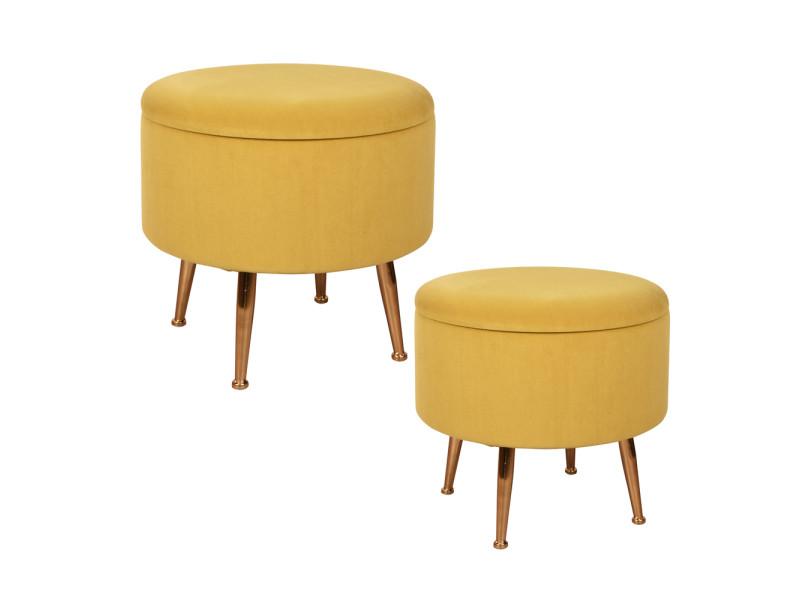 Set de 2 poufs jaunes sur pieds bibum 40 et 45 cm