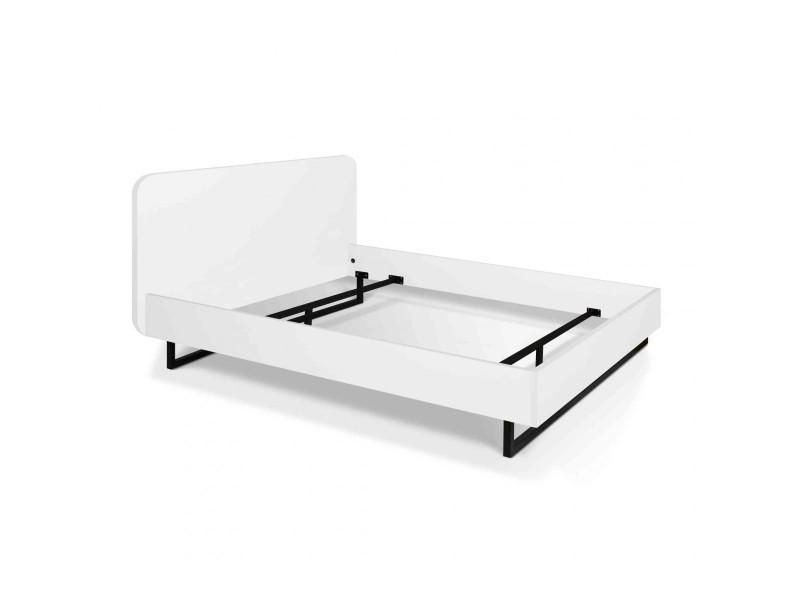 Lit en bois et métal blanc 180x200 - lt0021