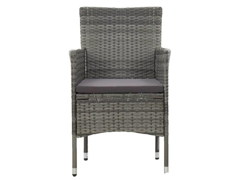 Vidaxl chaises de salle à manger de jardin 2 pcs résine tressée gris 46180