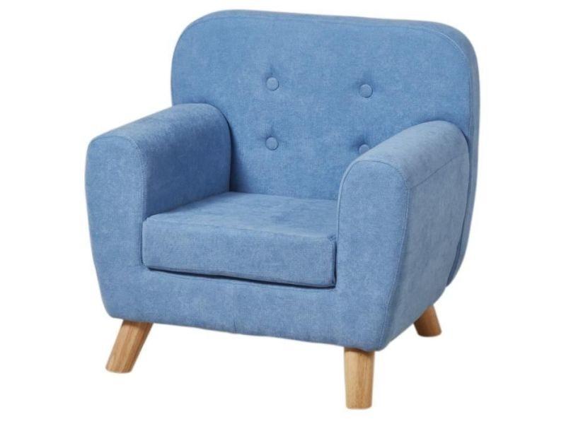 Arthur fauteuil enfant pieds bois chene - tissu - bleu - scandinave - l 56 x p 45 cm