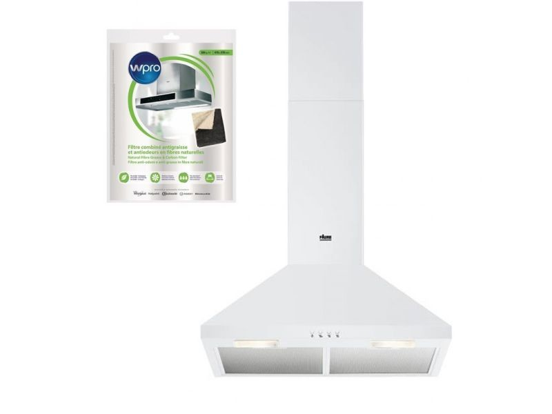 Hotte décorative pyramidale aspirante blanc largeur 60cm débit d'air 420m3/h