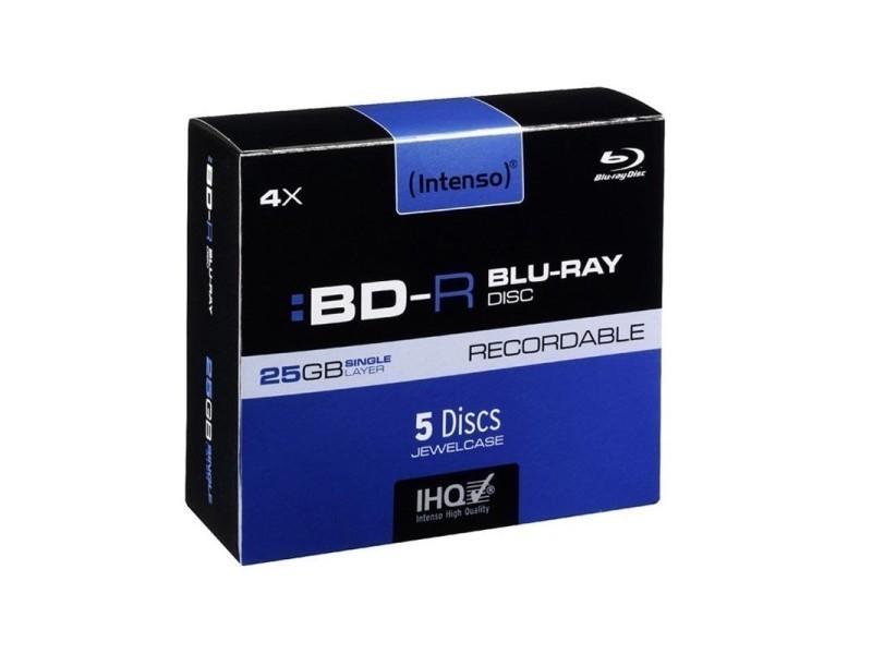 Pack de 5 blu-ray bd-r 25gb 4x speed intenso (coffret)