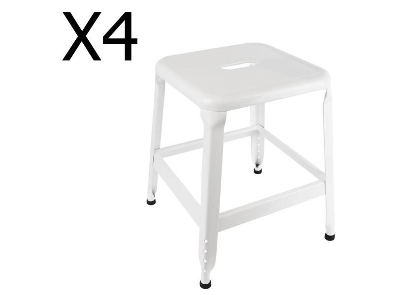 Lot de 4 tabourets en métal coloris blanc - dim : h 42.5 x l 37 x p 37 cm - pegane -