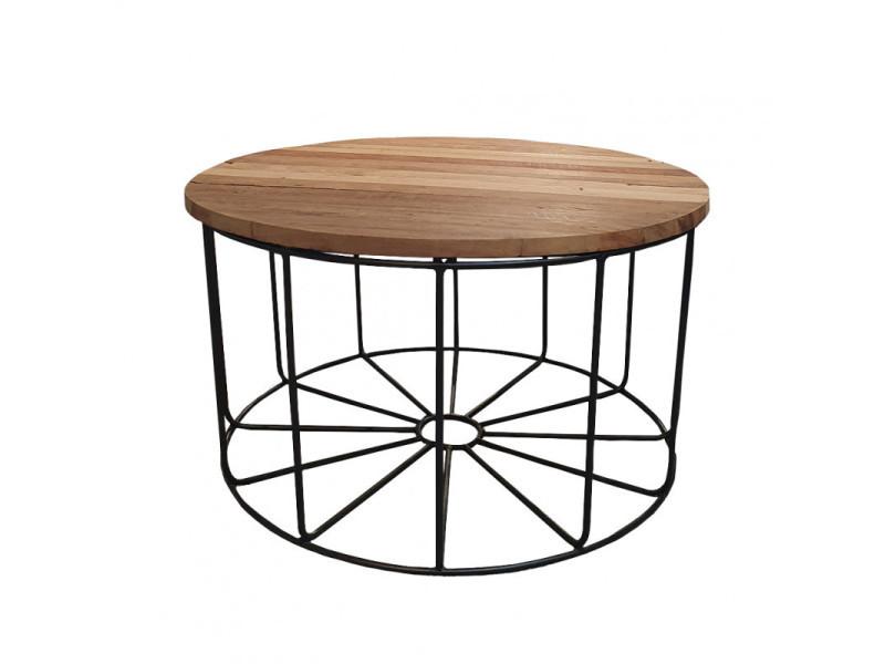 Table basse ronde en métal et plateau amovible en bois d.80 cm - teko