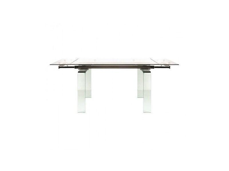 Table à rallonges en verre urban cristal 140-200 cm