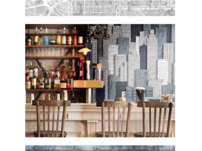 Urban friends & coffee papier peint appartements en ville gris et bleu 425290