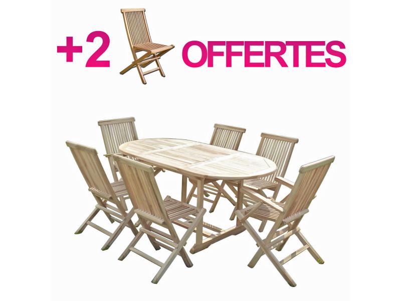 Ensemble salon de jardin en teck solo 4+2 chaises 2 ...
