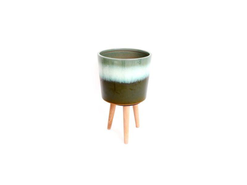 Cache pot en bois nature eucalyptus - h. 31 cm - vert