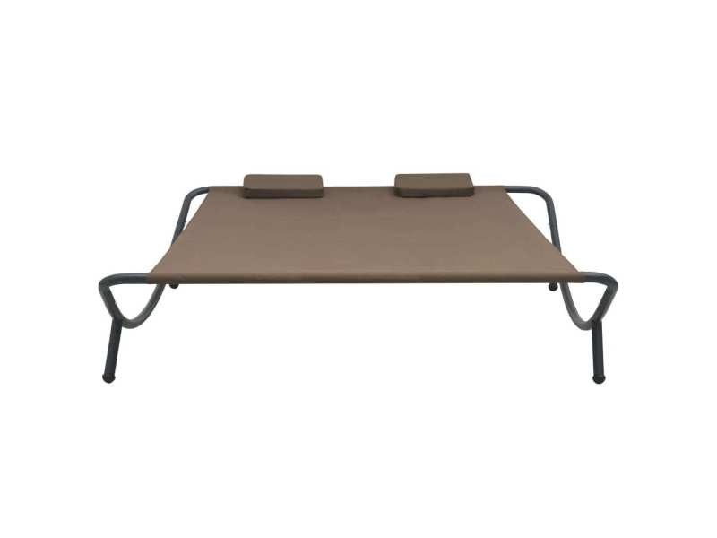 Vidaxl chaise longue d'extérieur tissu marron 48075