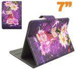 Housse universelle tablette 7 pouces support ajustable fleur violet