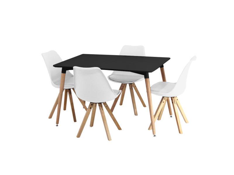 Ensemble table noire et 4 chaises blanches scandinaves ...