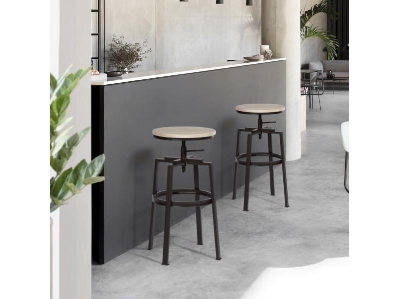 Lot de 2 tabouret de bar hauteur réglable 66.5-74cm rotation siège en imitation bois et métal design industriel