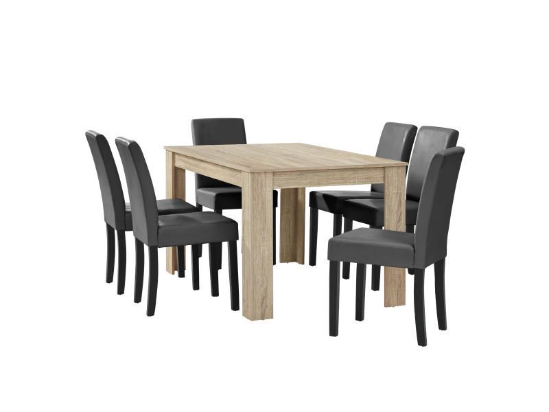 [en.casa] table à manger chêne brilliant avec 6 chaises gris foncé cuir-synthétique rembourré140x90