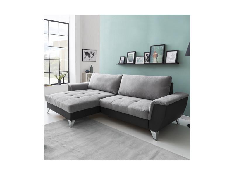 Canapé d'angle look coffre gauche / gris clair-gris foncé