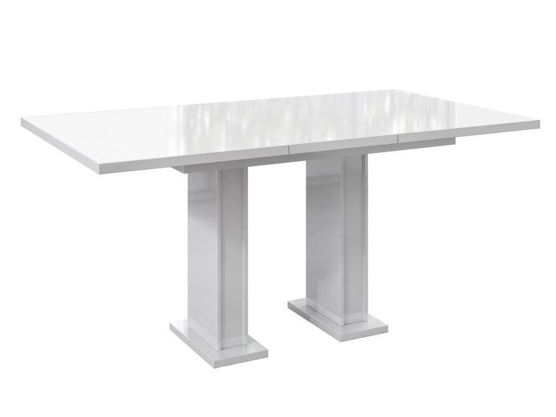 Table a manger extensible ross - blanc laque 120-160 cm