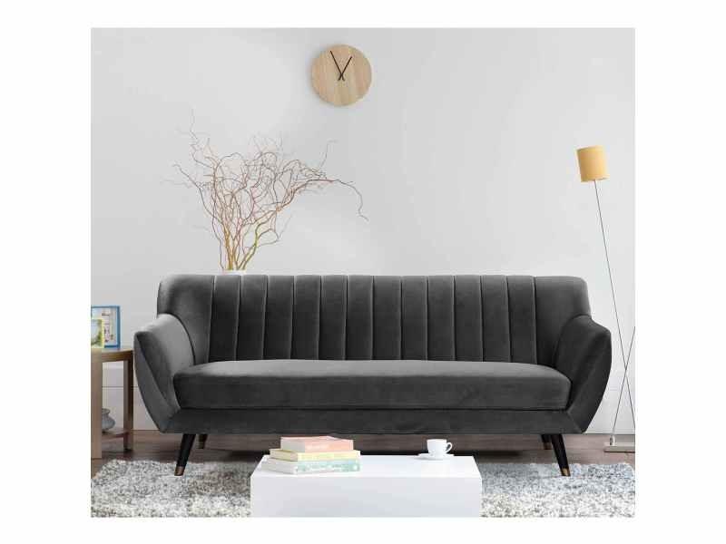 Canapé scandinave 3 places en tissu velours gris pandora