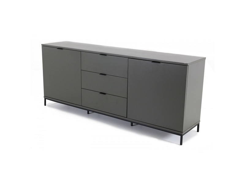 buffet bas laqu gris 2 portes 3 tiroirs interio int mb2p 3t vente de id 39 clik conforama. Black Bedroom Furniture Sets. Home Design Ideas