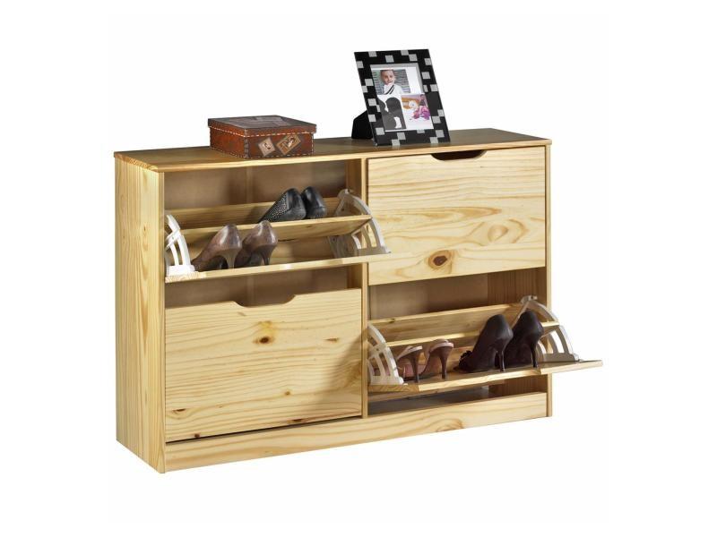 meuble chaussures basil armoire avec 2 x 2 abattants rangement pour 24 paires en pin massif. Black Bedroom Furniture Sets. Home Design Ideas