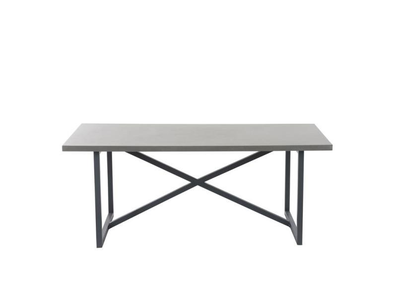 Table de repas métal/bois gris - bertolt - l 190 x l 90 x h 76 - neuf